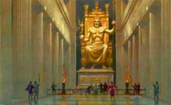 Estatua de Zeus, Olimpia La estatua estaba montada en un pedestal de 9,93 metros de largo y 6,25 metros de ancho. Zeus era un séquito, con un cetro en la mano izquierda, mientras que una Victoria estaba a la derecha.